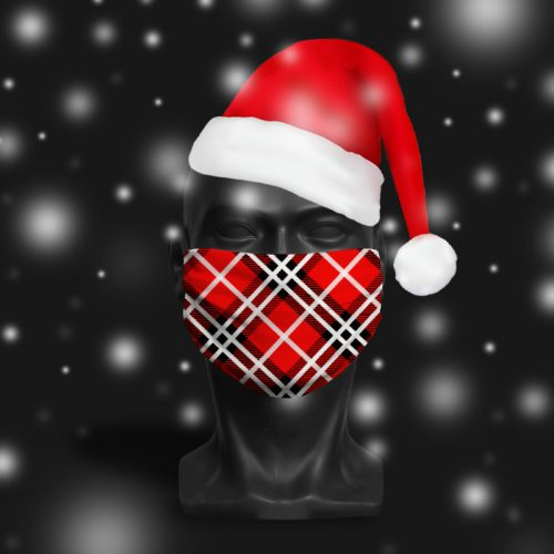 Festive Tartan Red – ViralOff® Adult Festive Face Mask. One Size, adjustable with ComfyClip accessory