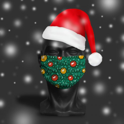 Christmas Tree Cartoon – ViralOff® Adult Festive Face Mask. One Size, adjustable with ComfyClip accessory