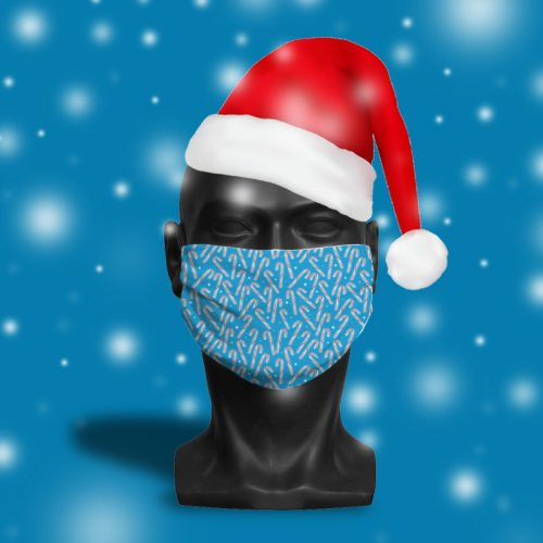 'Ice Blue Candy Cane Glow' ViralOff® Adult Festive Face Mask. One Size, adjustable with ComfyClip accessory