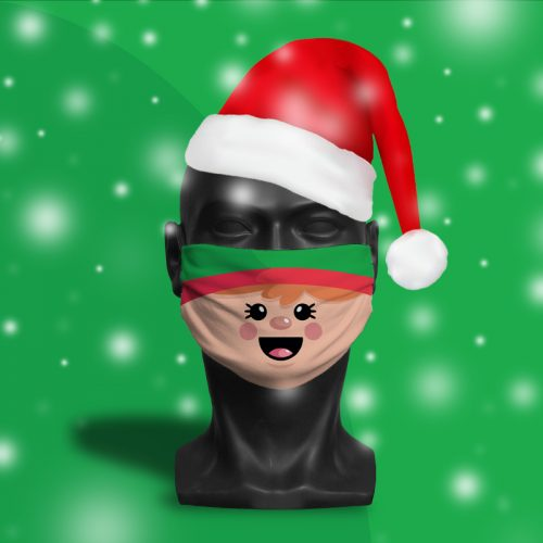 'Elf Face' ViralOff® Adult Festive Face Mask. One Size, adjustable with ComfyClip accessory