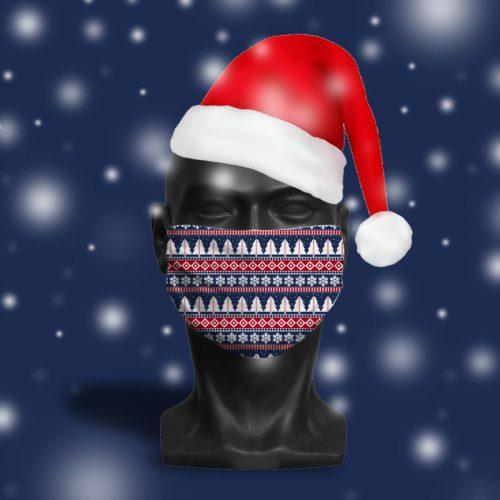 'Blue Fairisle' ViralOff® Adult Festive Face Mask. One Size, adjustable with ComfyClip accessory
