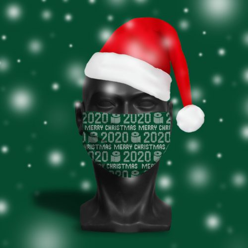 'Merry Christmas 2020 Green' ViralOff® Adult Festive Face Mask. One Size, adjustable with ComfyClip accessory