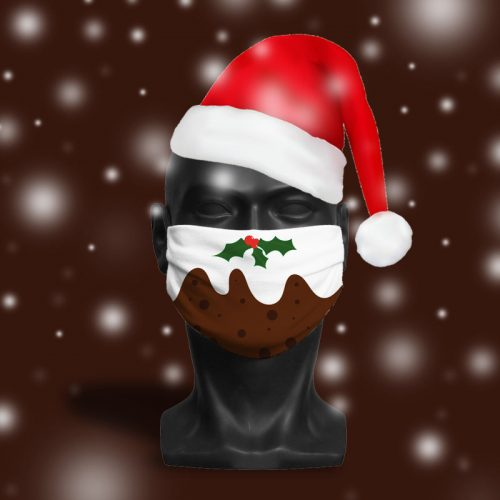 'Christmas Pudding' ViralOff® Adult Festive Face Mask. One Size, adjustable with ComfyClip accessory
