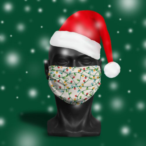 Christmas Tree lights Cream – ViralOff® Adult Face Mask. One Size, adjustable with ComfyClip accessory