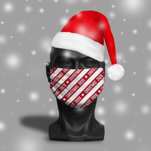 Christmas 2020 stripes – ViralOff® Adult Festive Face Mask. One Size, adjustable with ComfyClip accessory