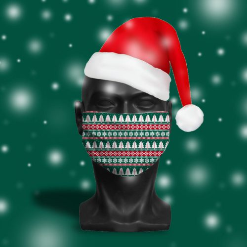 'Green Fairisle' ViralOff® Adult Festive Face Mask. One Size, adjustable with ComfyClip accessory