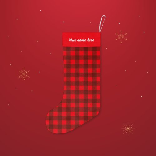 'Red Check' Festive Christmas Stocking – Personalised Cuff