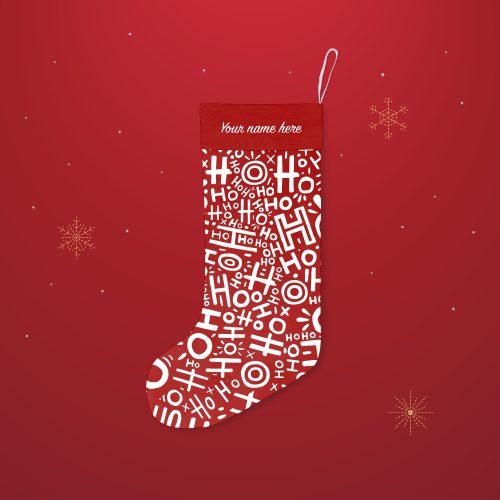 'HoHoHo Santa Red' Festive Christmas Stocking – Personalised Cuff