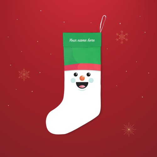 'Snowman Face' Festive Christmas Stocking – Personalised Cuff