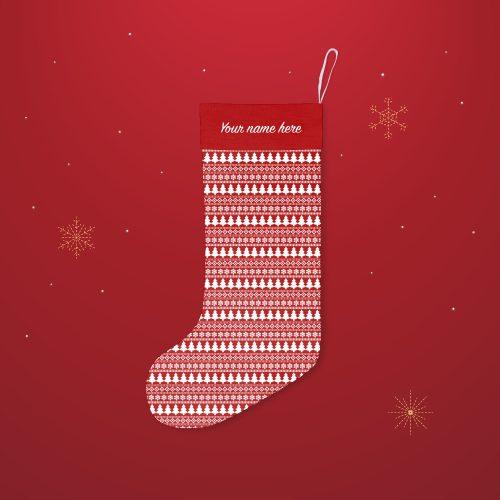 'Red Fairisle Pattern' Festive Christmas Stocking – Personalised Cuff