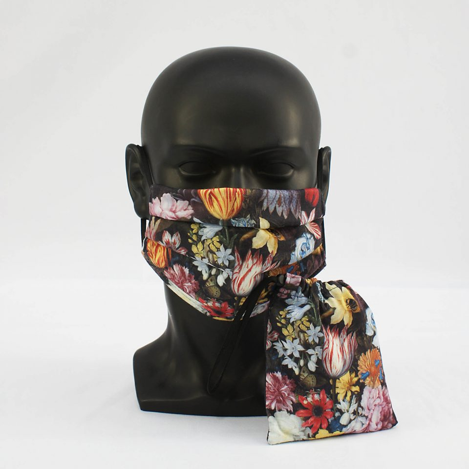'A Still Life of Flowers in a Wan-Li Vase' - Ambrosius Bosschaert the Elder - National Gallery Face Mask and Bag Bundle
