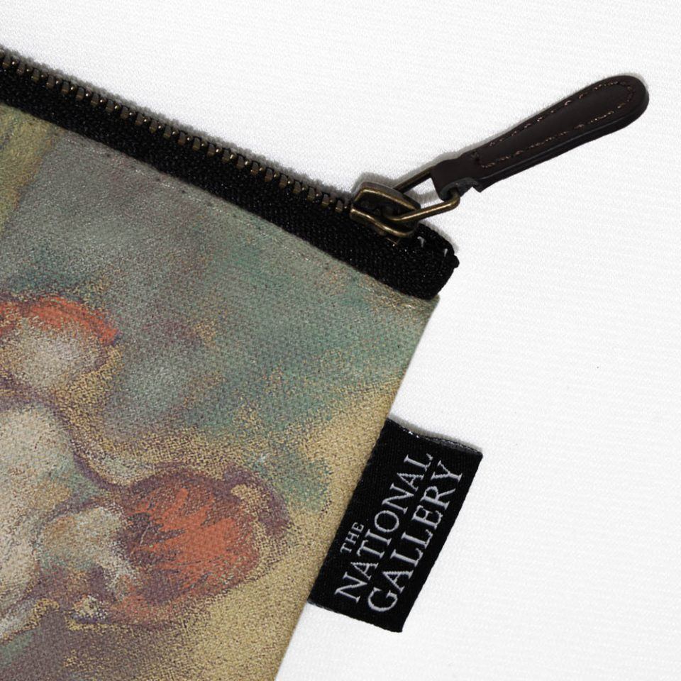 NATIONAL GALLERY BALLET DANCERS EDGAR DEGAS COSMETIC BAG LABEL CLOSE UP Paul Bristow Collections
