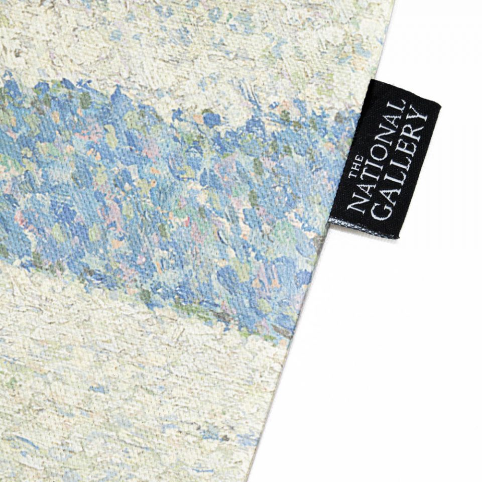 NATIONAL GALLERY-COASTAL SCENE-THEO VAN RYSSELBERGHE-TOTE BAG-LABEL CLOSE UP Paul Bristow Collections