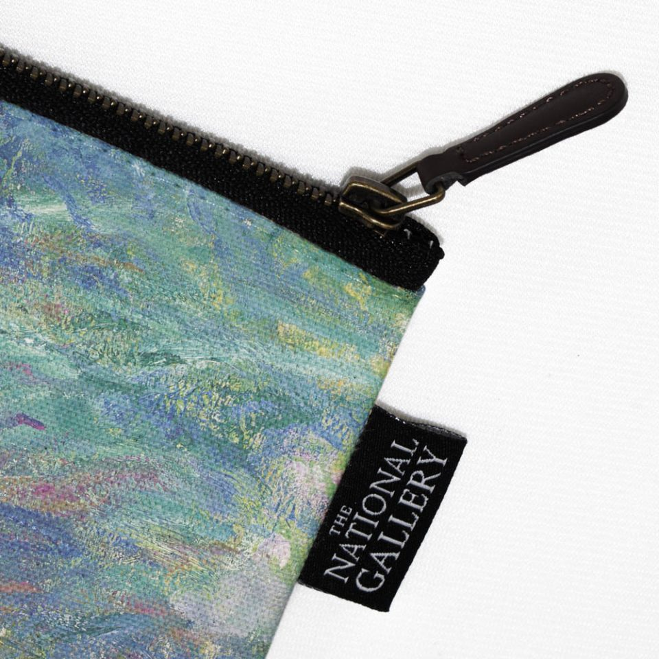 NATIONAL GALLERY IRISES CLAUDE MONET COSMETIC BAG LABEL CLOSE UP Paul Bristow Collections