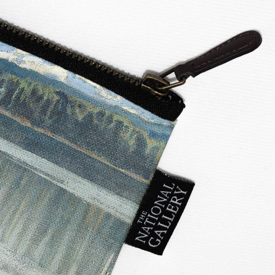 NATIONAL GALLERY LAKE KEITELE AKSELI GALLEN KALLELA COSMETIC BAG LABEL CLOSE UP Paul Bristow Collections