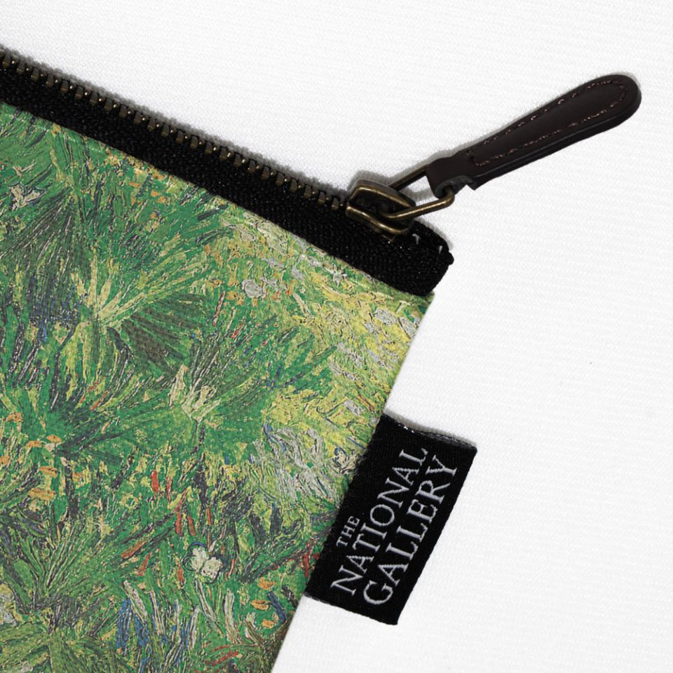 NATIONAL GALLERY LONG GRASS VINCENT VAN GOGH COSMETIC BAG LABEL CLOSE UP Paul Bristow Collections