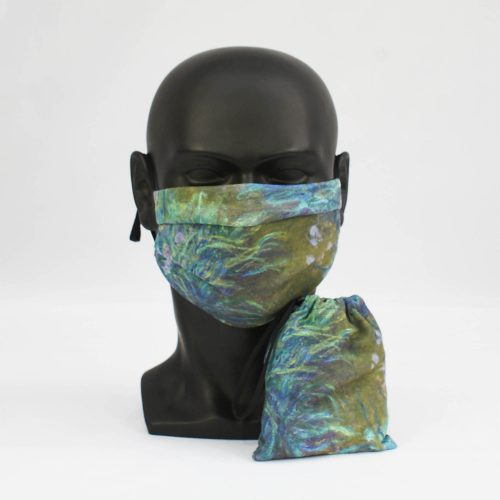 'Irises' – Claude Monet – National Gallery Three Layer Face Mask and Bag Bundle