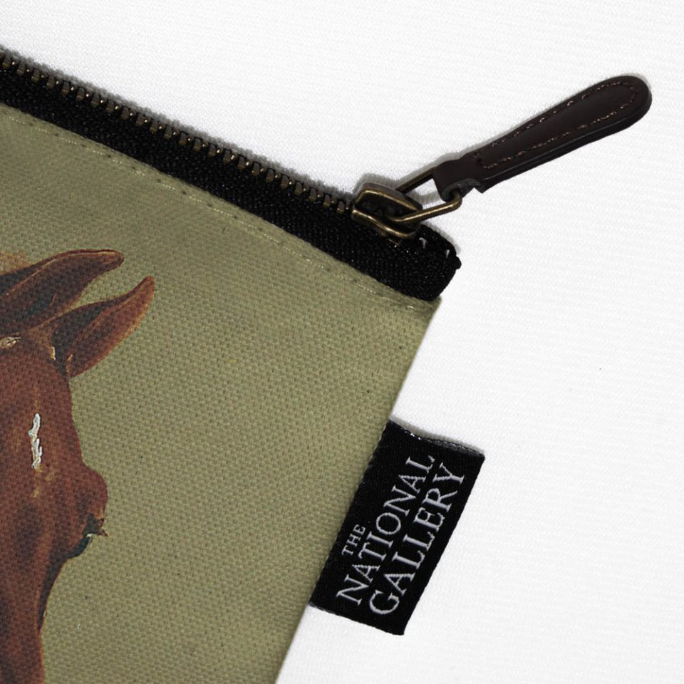 NATIONAL GALLERY WHISTLEJACKET GEORGE STUBBS COSMETIC BAG LABEL CLOSE UP Paul Bristow Collections