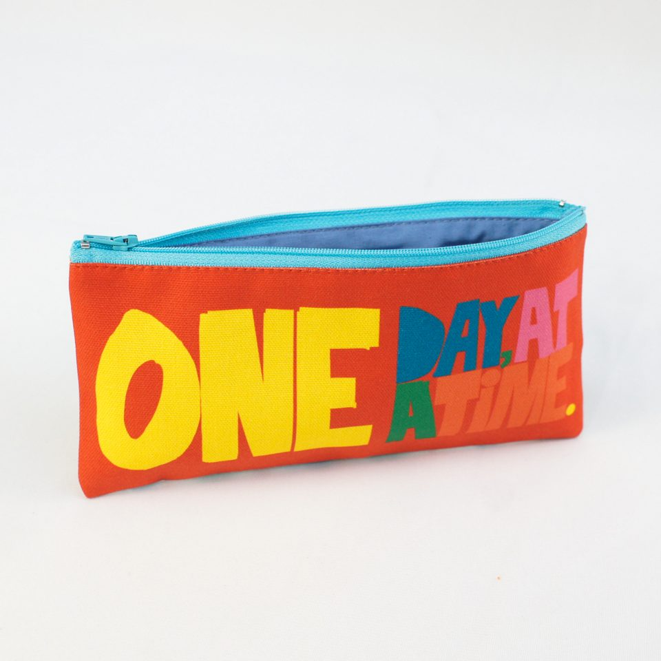 One Day at a time RUDE Design Pencil Case Open