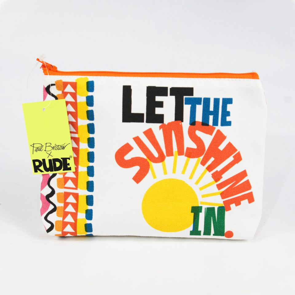 RUDE DESIGNS LET THE SUNSHINE COSMETIC BAG SWING TAG