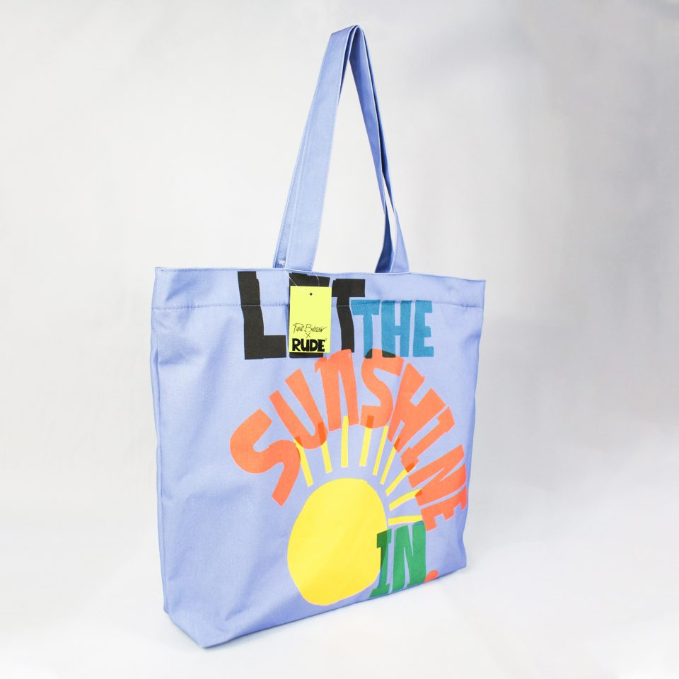 RUDE DESIGNS LET THE SUNSHINE TOTE BAG SWING TAG
