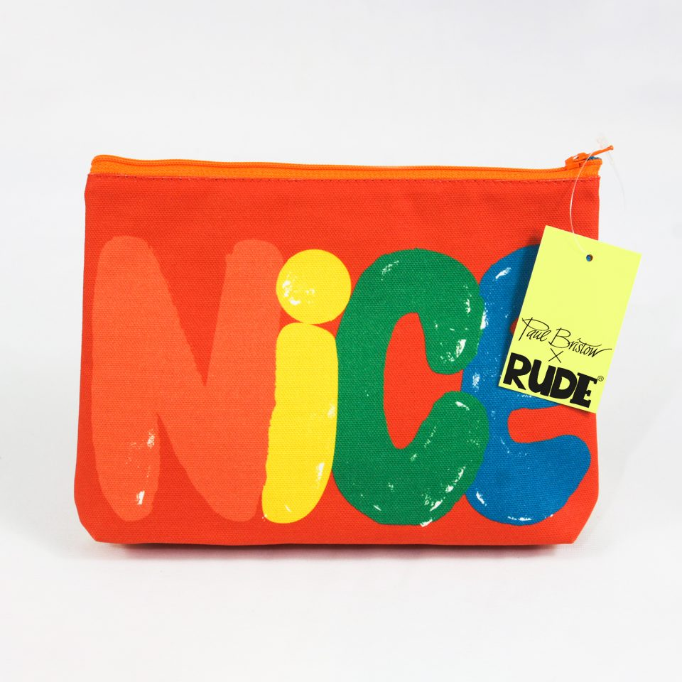 RUDE DESIGNS NICE COSMETIC BAG SWING TAG
