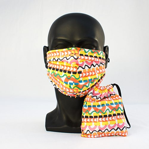 Arrow Pattern – RUDE – Three Layer Face Mask with Face Mask Bag