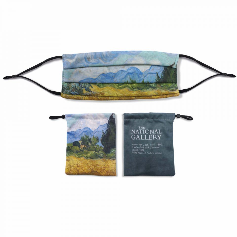 'A Wheatfield, with Cypresses' - Vincent van Gogh - National Gallery Face Mask and Bag Bundle