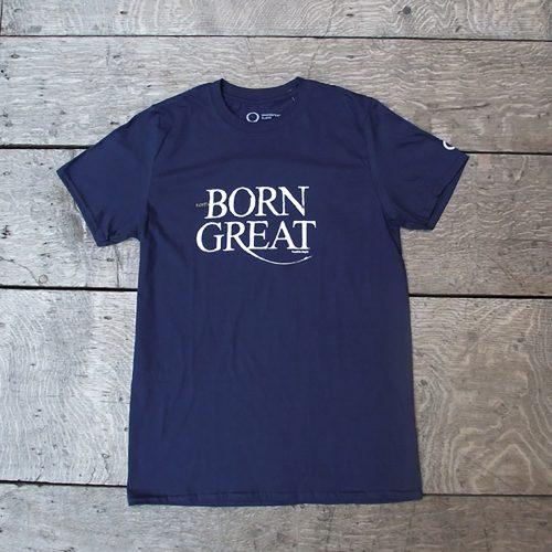 Shakespeare's Globe – Navy Twelfth Night Quote T-shirt (Born Great)